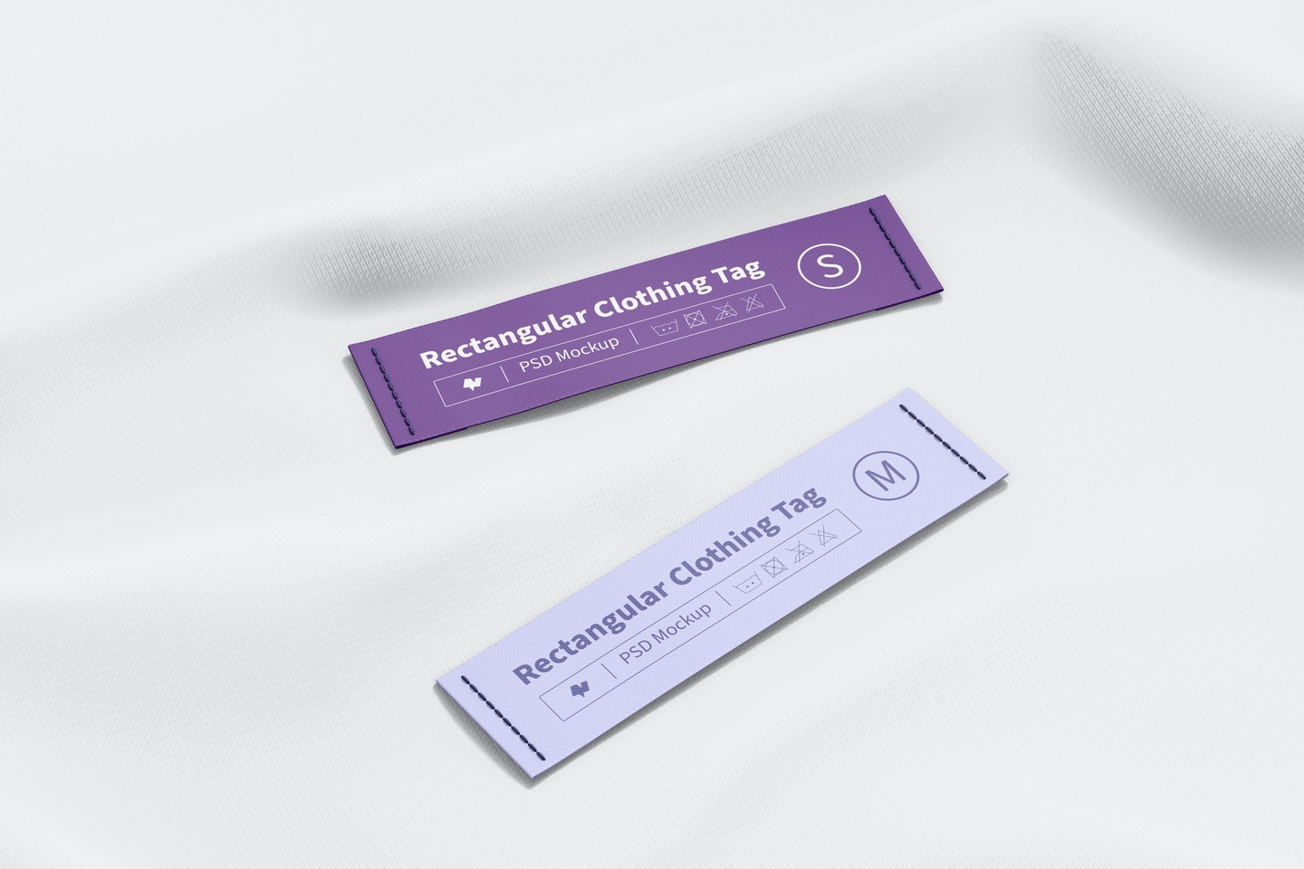 Rectangular Clothing Tags Mockup, Perspective