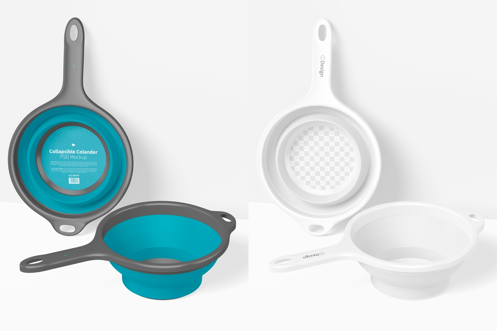 Collapsible Colanders Mockup, Standing and Dropped