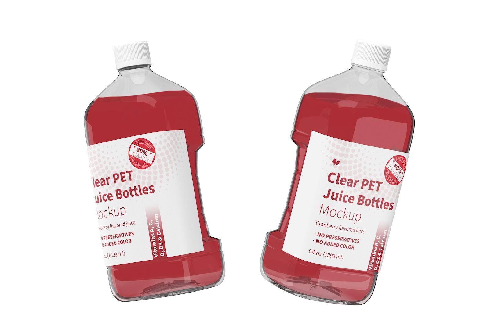 64 oz Clear PET Juice Bottles Mockup, Floating