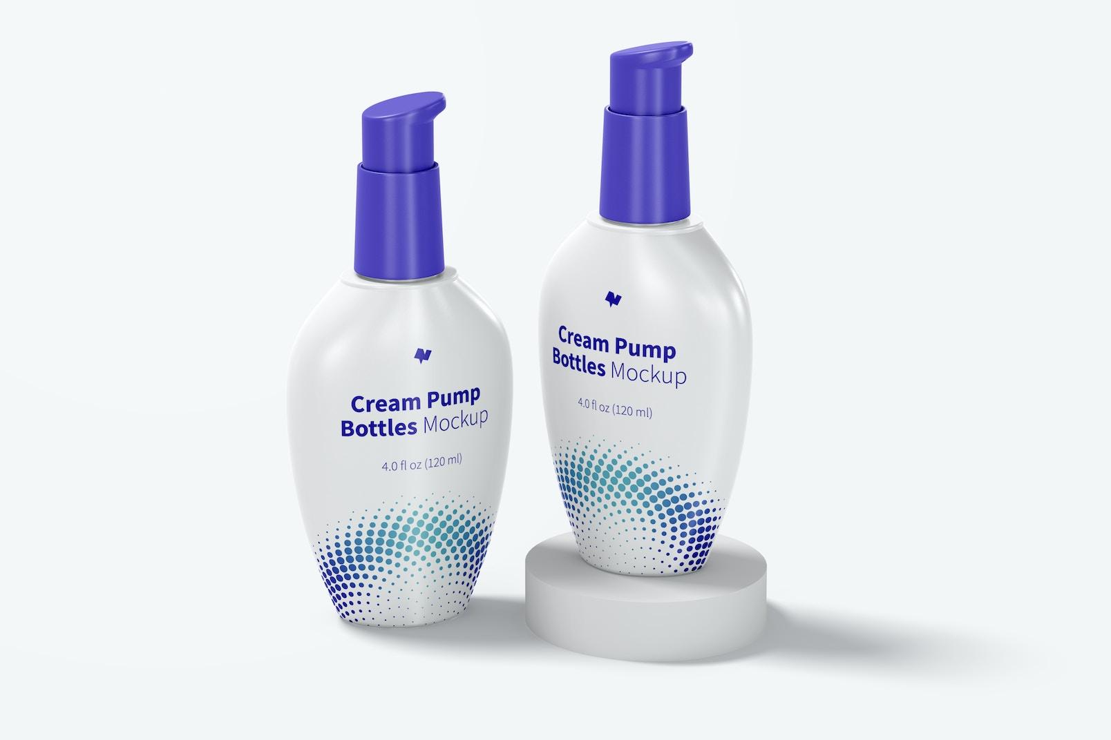Cream Pump Bottles Mockup