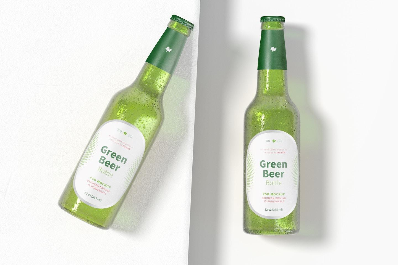 Green Beer Bottles Mockup, Top View