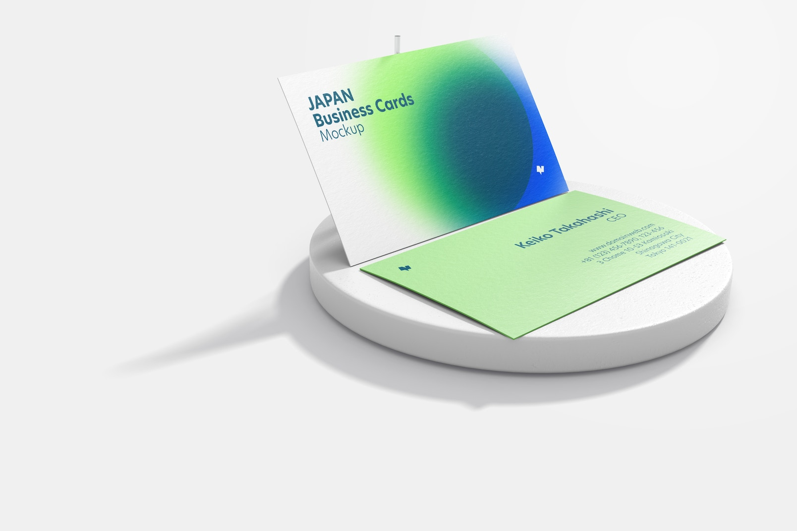 Japan Landscape Business Cards with Round Stone Mockup