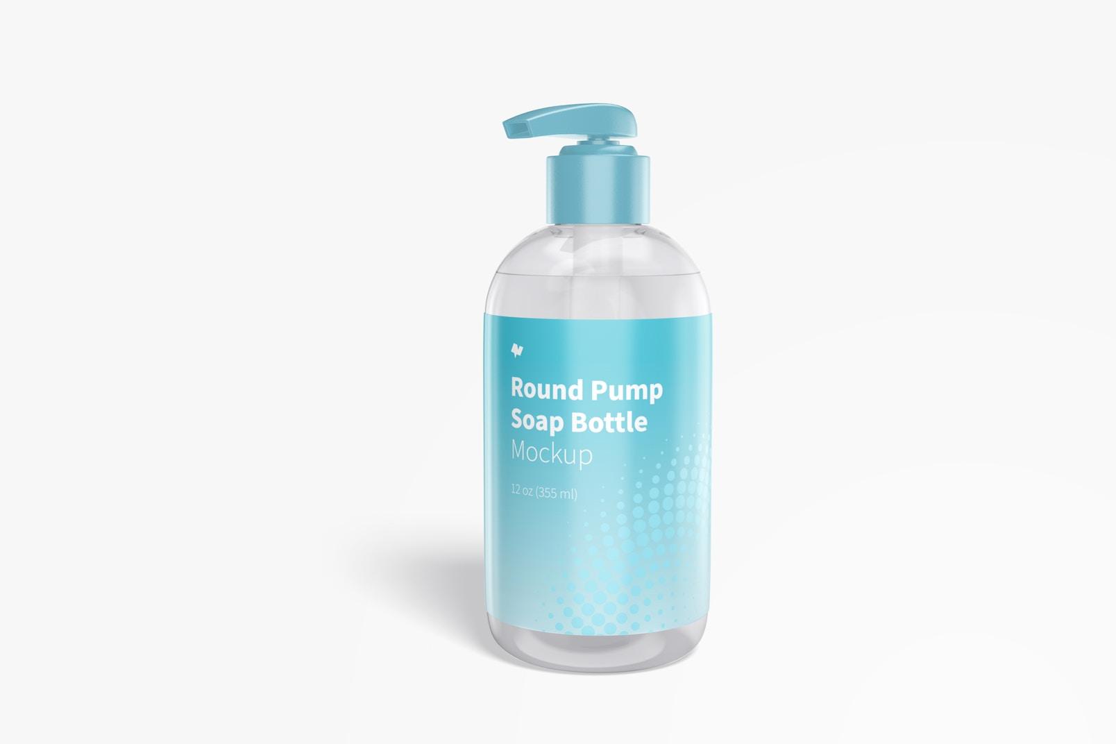 Round Pump Soap Bottle Mockup