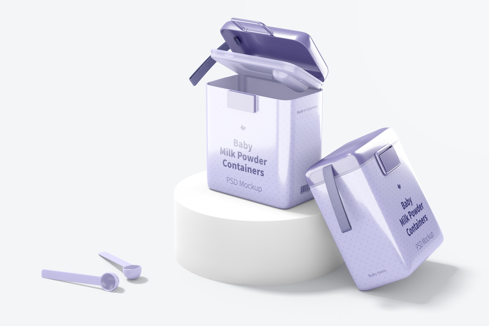 Large Baby Milk Powder Containers Mockup