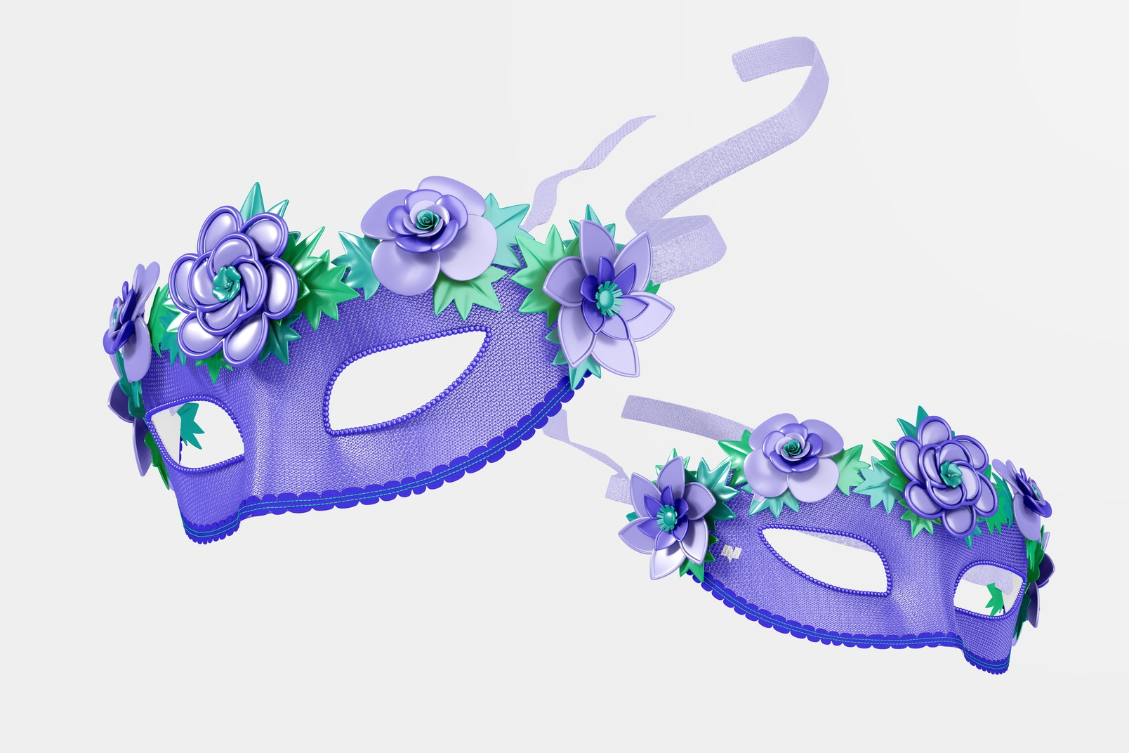Floral Venetian Half-Face Masks Mockup, Falling