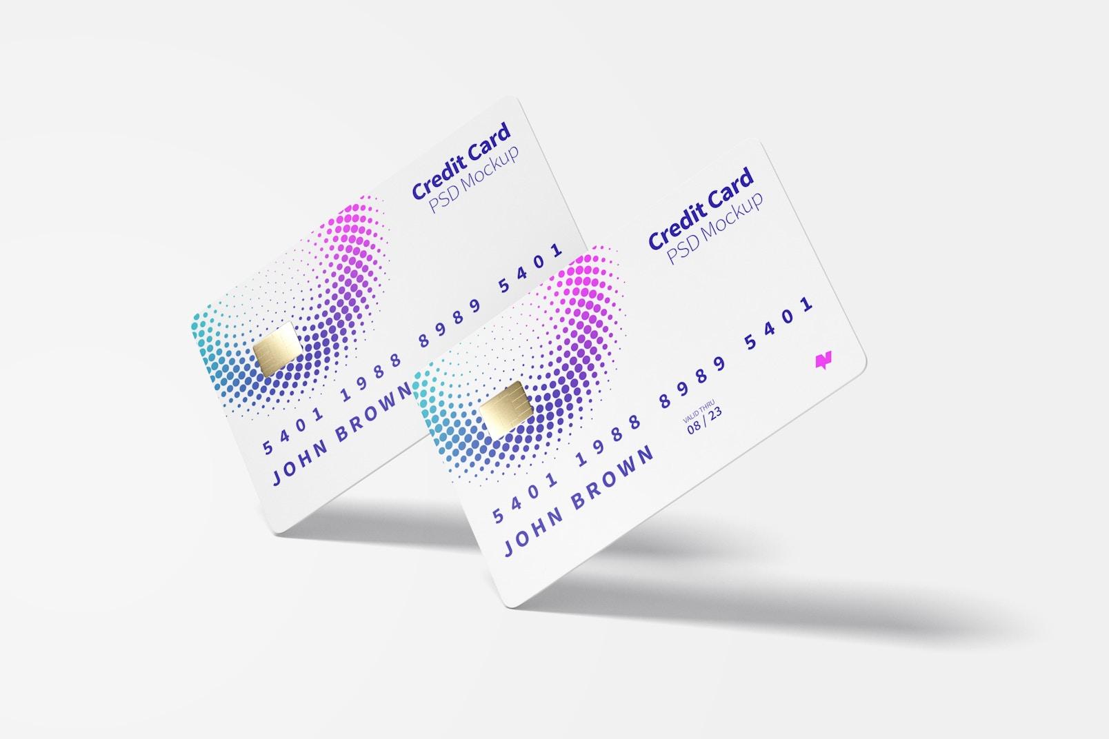 Credit Cards Mockup, Falling