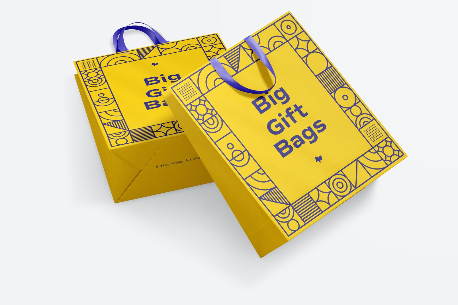 Big Gift Bags with Ribbon Handle Mockup