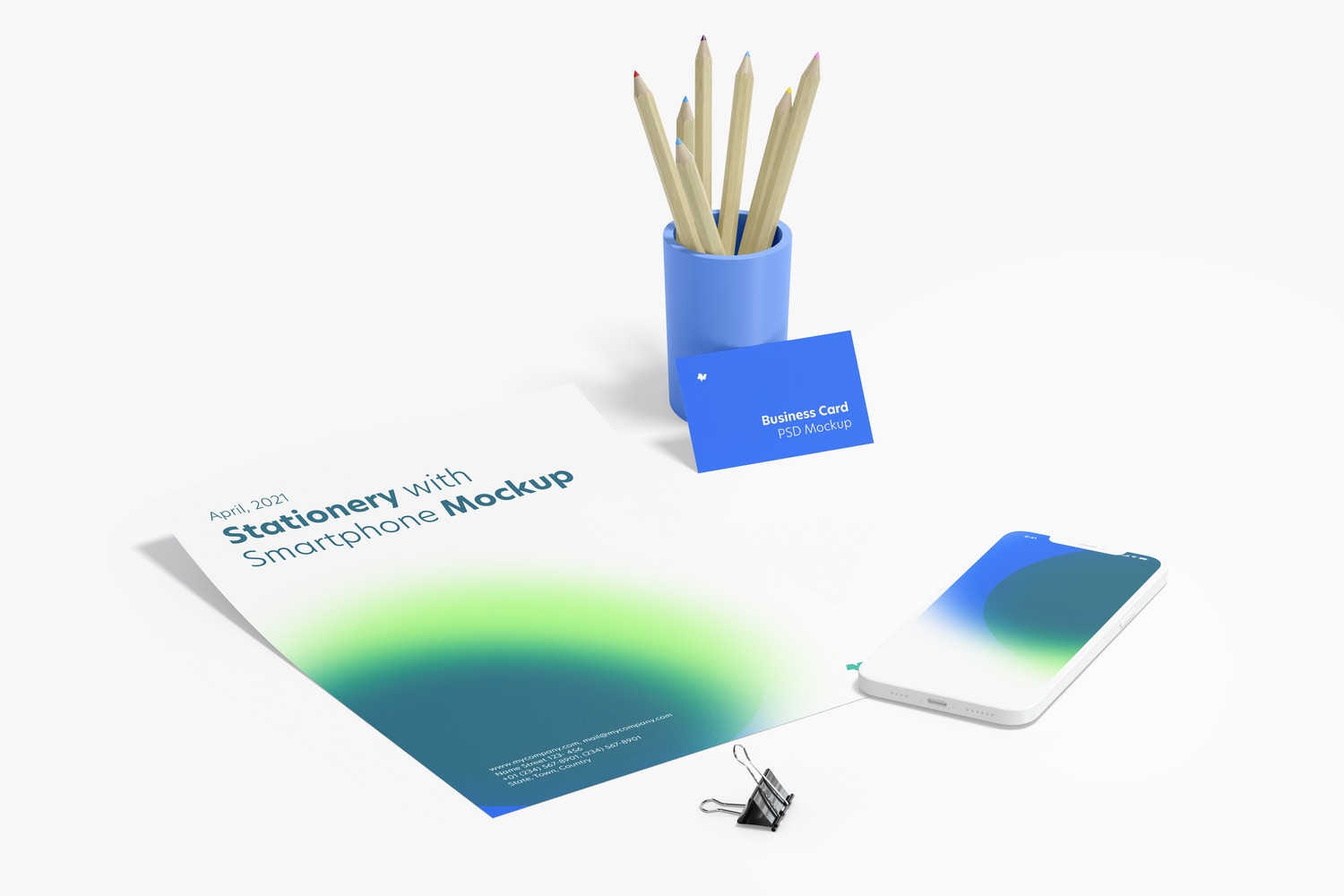Stationery with Smartphone Mockup