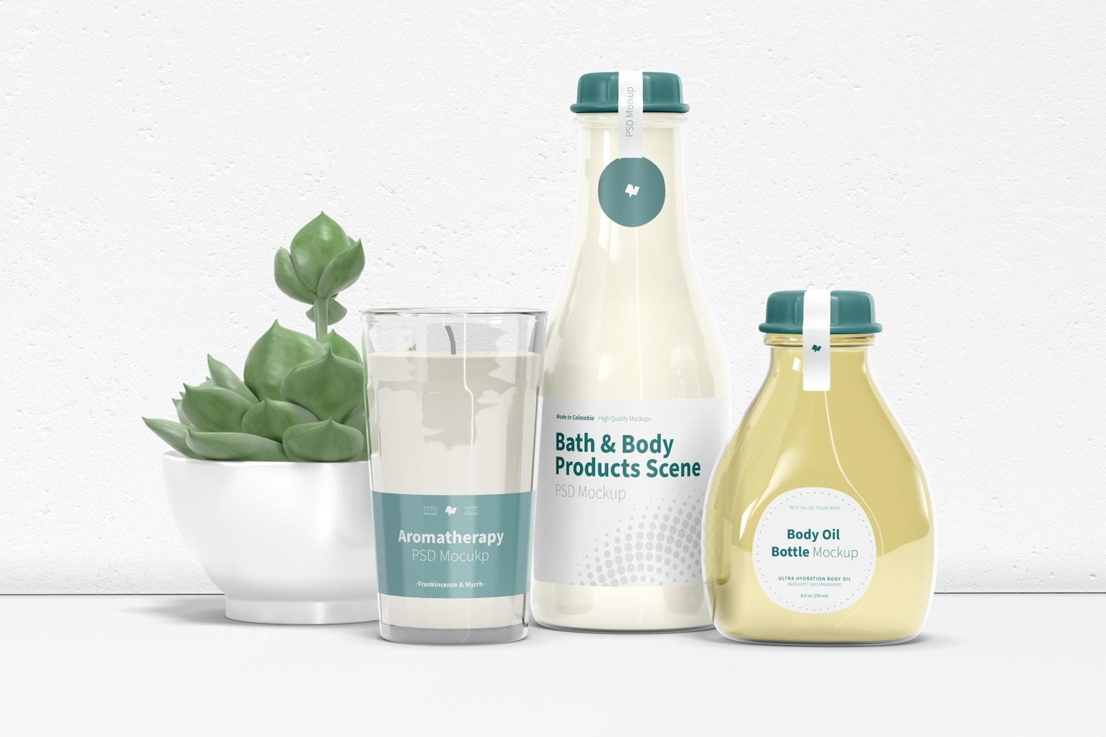 Bath and Body Products Scene Mockup