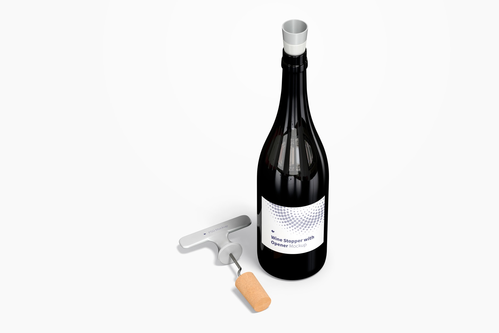 Wine Stopper with Opener and Bottle Mockup