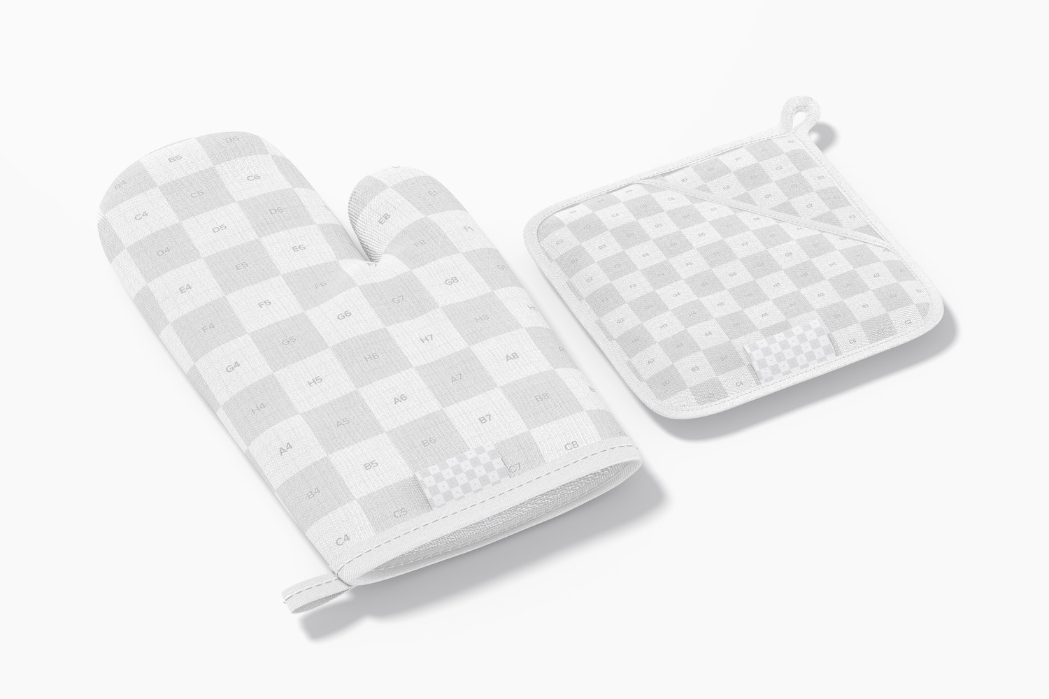 Oven Mitt and Potholder Mockup, Perspective View