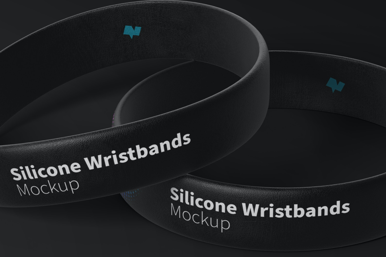 Silicone Wristbands Set Mockup