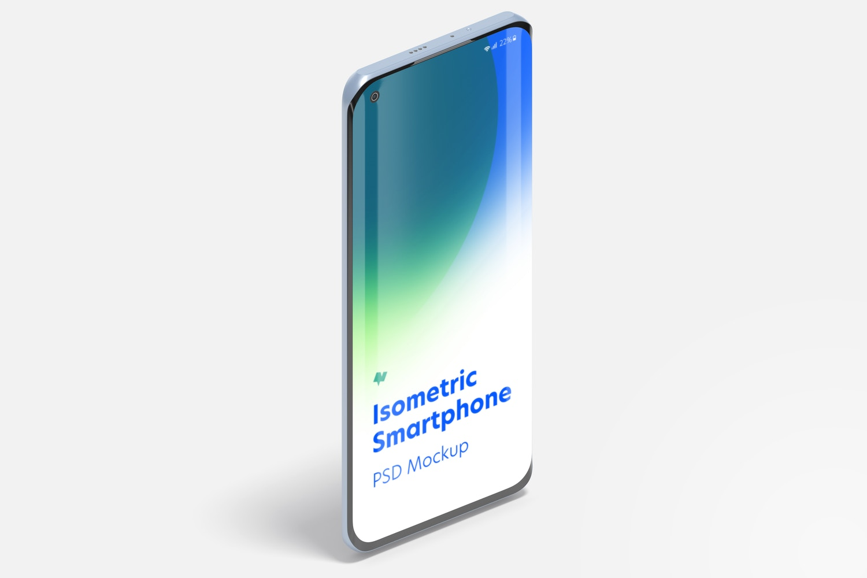Isometric Xiaomi Smartphone Mockup, Portrait Right View