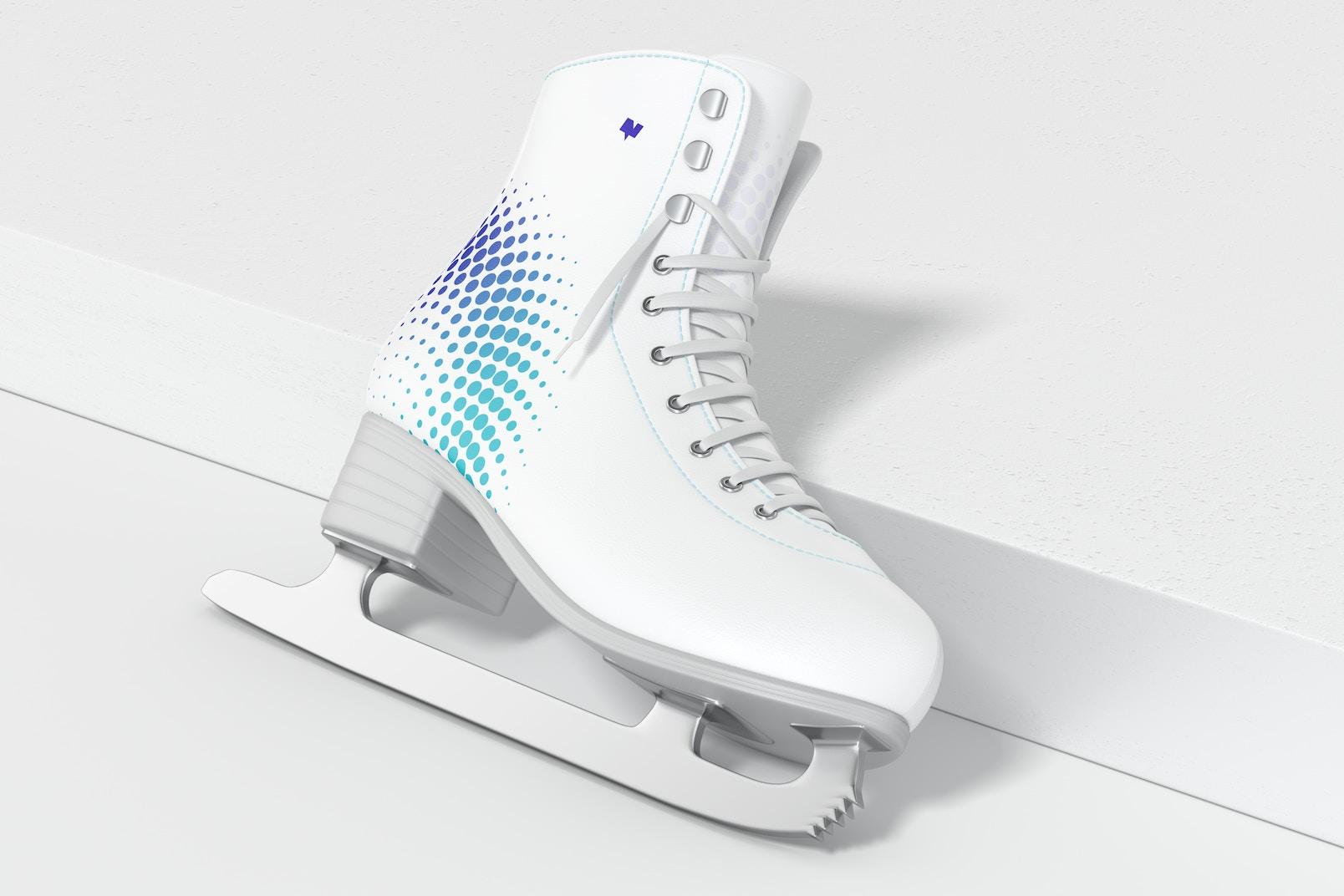 Ice Skate Mockup, Leaned