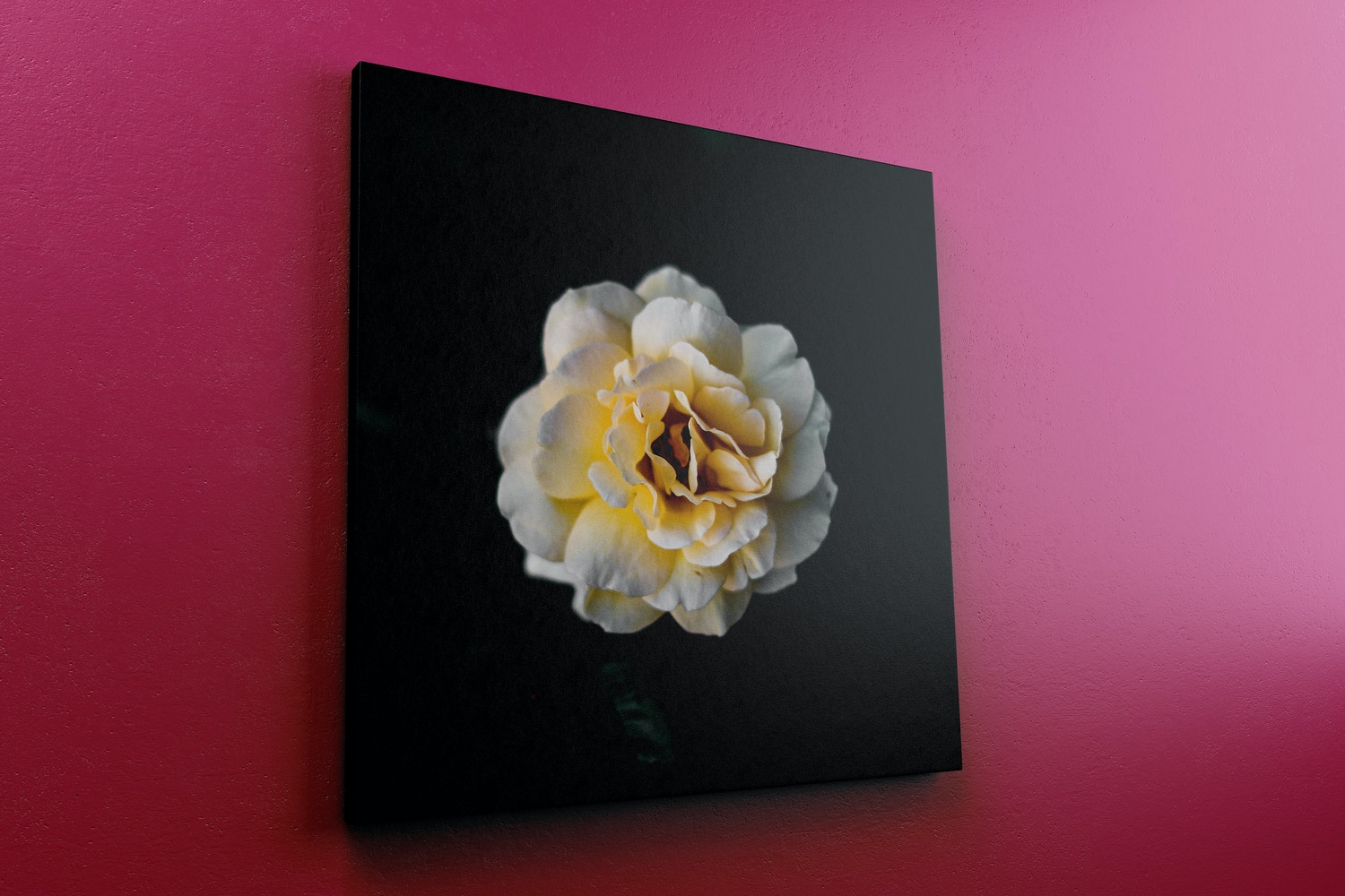 Square Canvas Mockup Hanging on Wall, Left View