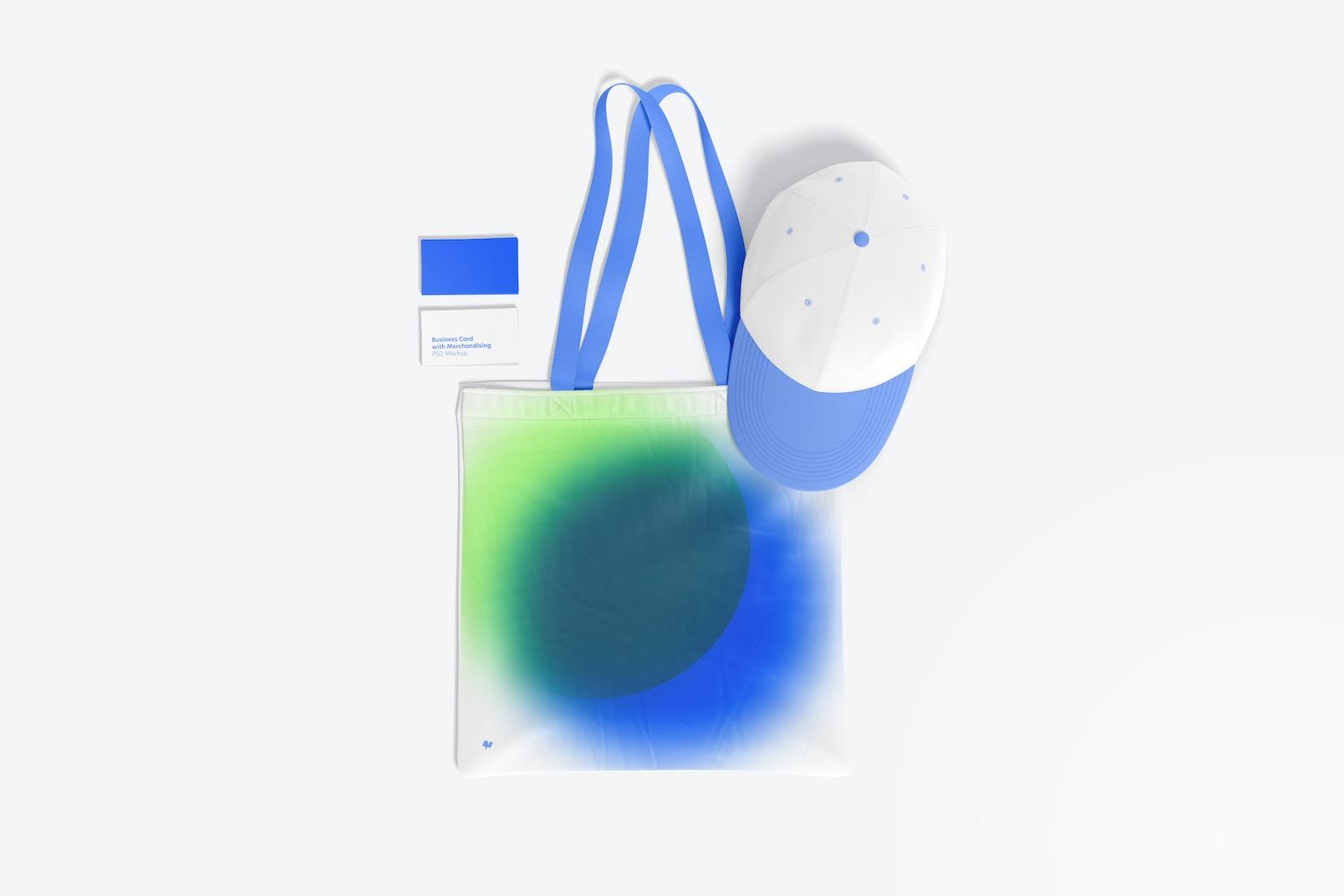 Maqueta de Tarjeta de Presentación con Merchandising, Vista Superior