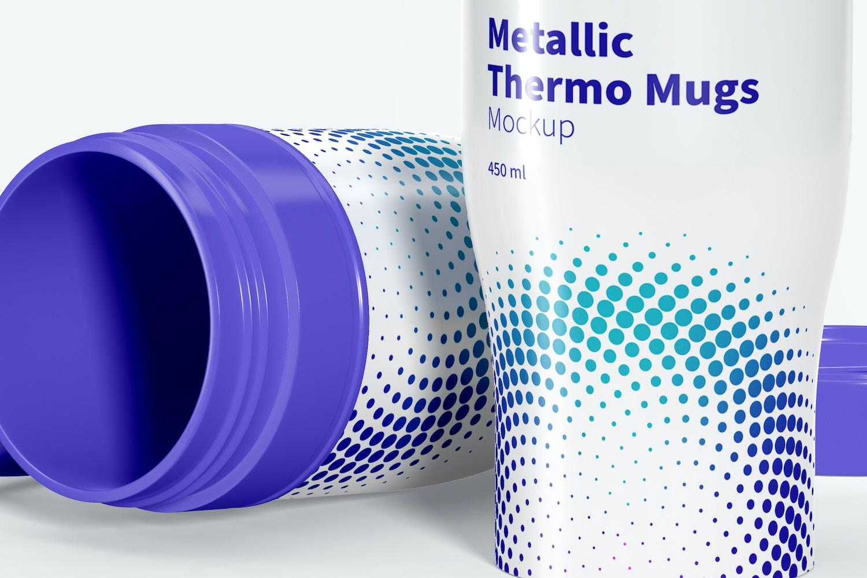 Glossy Metallic Thermo Mugs Mockup, Dropped