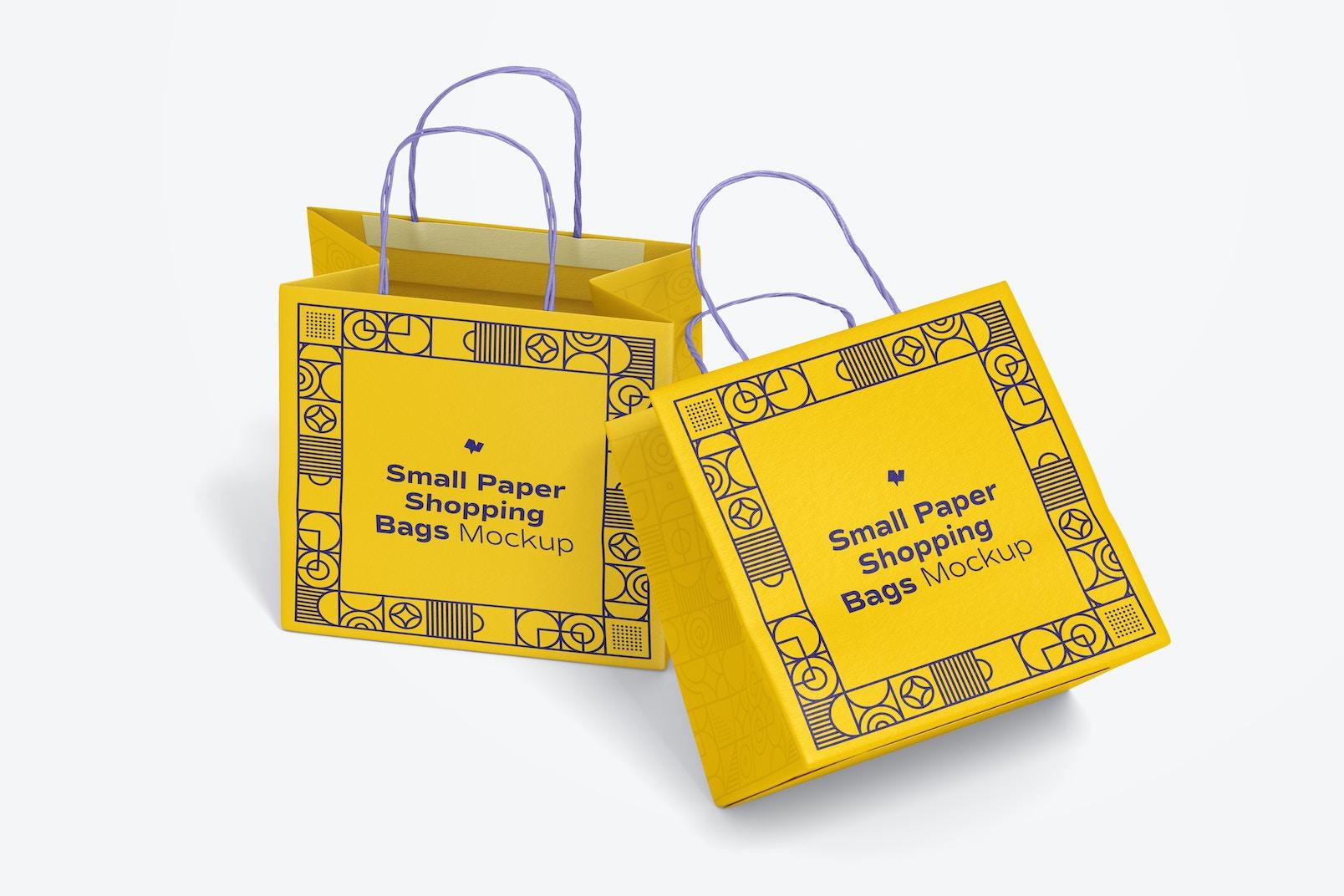 Small Paper Shopping Bags Mockup