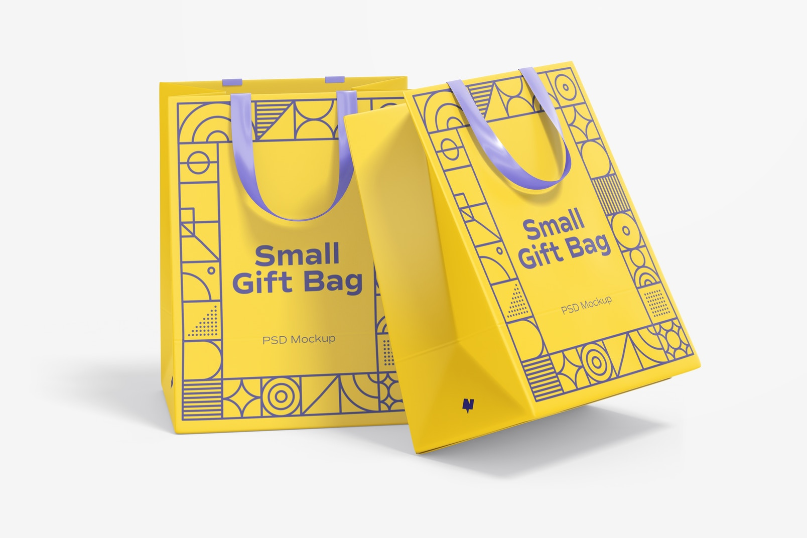 Small Gift Bags with Ribbon Handle Mockup, Perspective