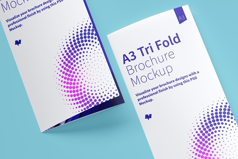 Maqueta de un Folleto A3 Tríptico 05 (5) por Original Mockups en Original Mockups