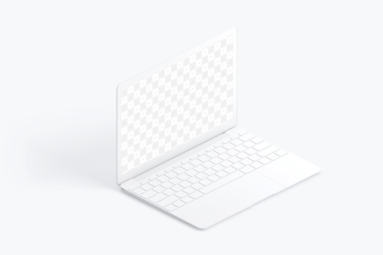 Maqueta de MacBook Multicolor, Vista Izquierda Isométrica. (2) por Original Mockups en Original Mockups
