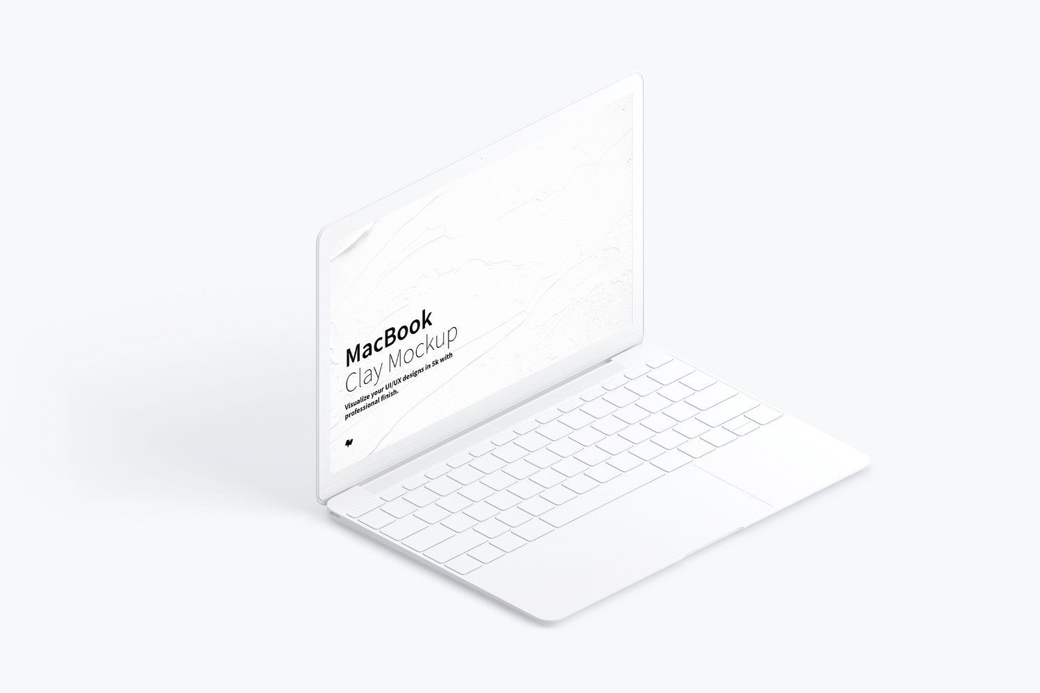 Clay MacBook Mockup, Isometric Left View by Original Mockups on Original Mockups
