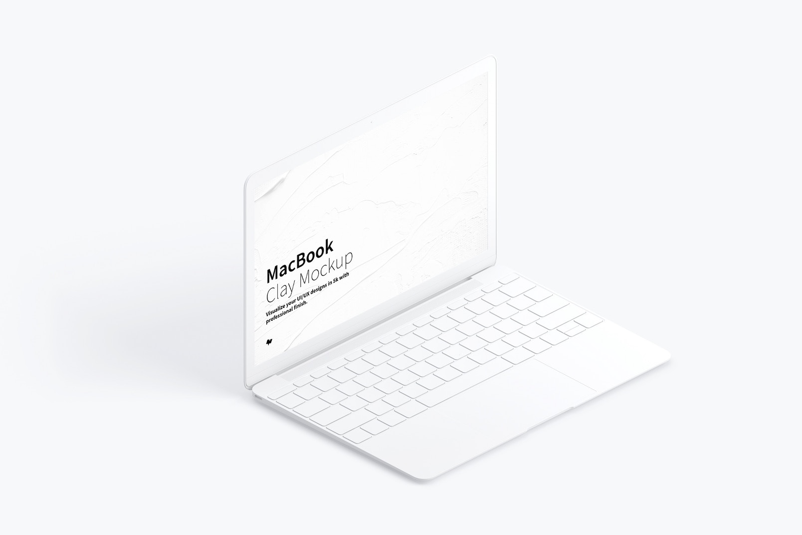 Clay MacBook Mockup, Isometric Left View