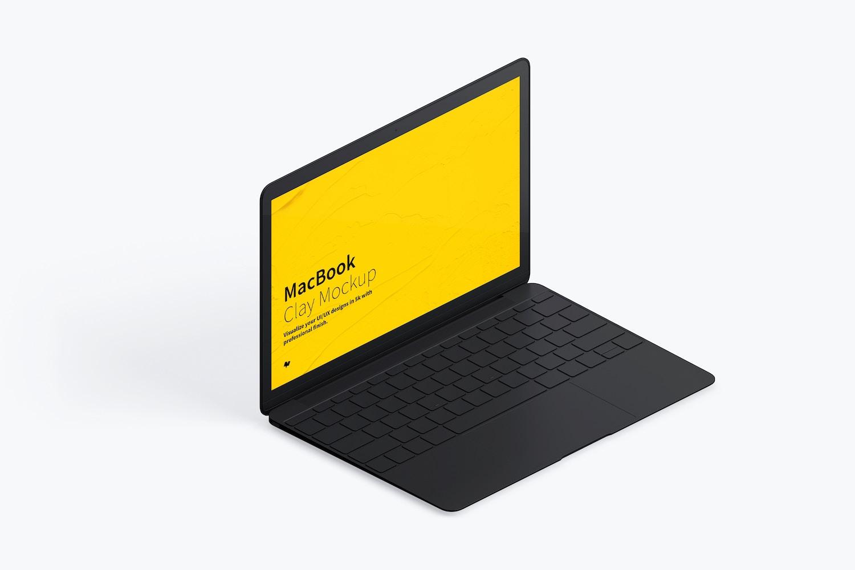 Maqueta de MacBook Multicolor, Vista Izquierda Isométrica. (4) por Original Mockups en Original Mockups