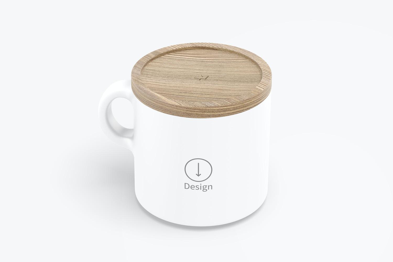 10 oz Ceramic Mugs with Bamboo Lid Mockup, Isometric Left View