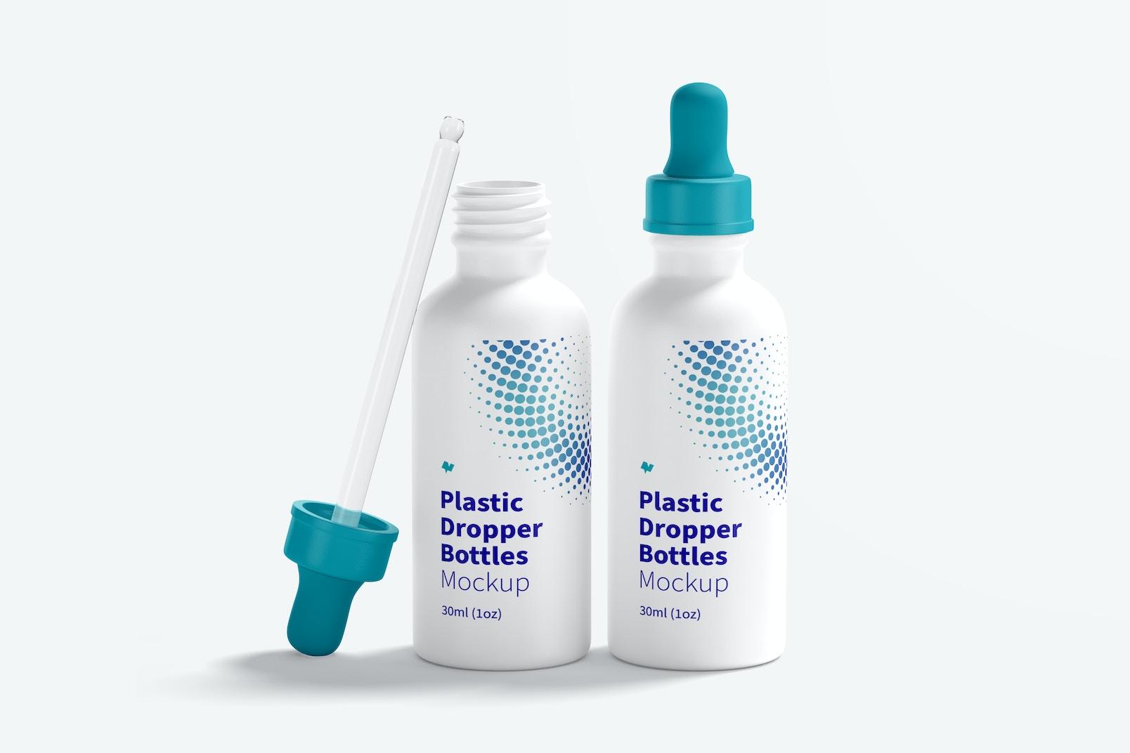 Two Plastic Dropper Bottles Mockup