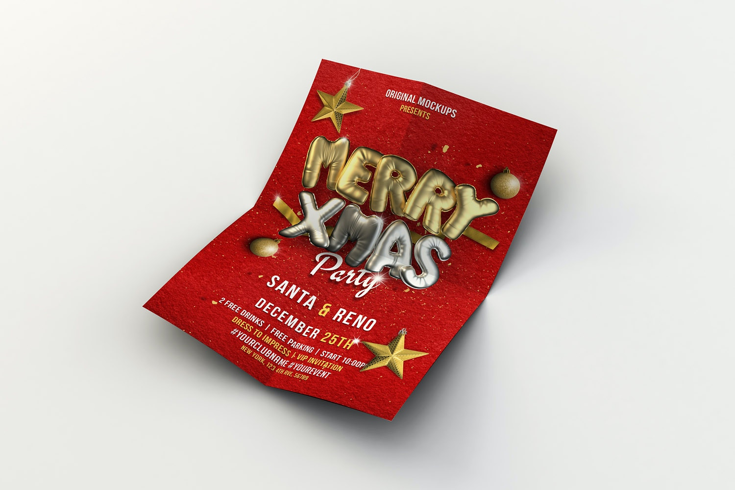 Merry Christmas Flyer - Poster 04 by Original Mockups on Original Mockups