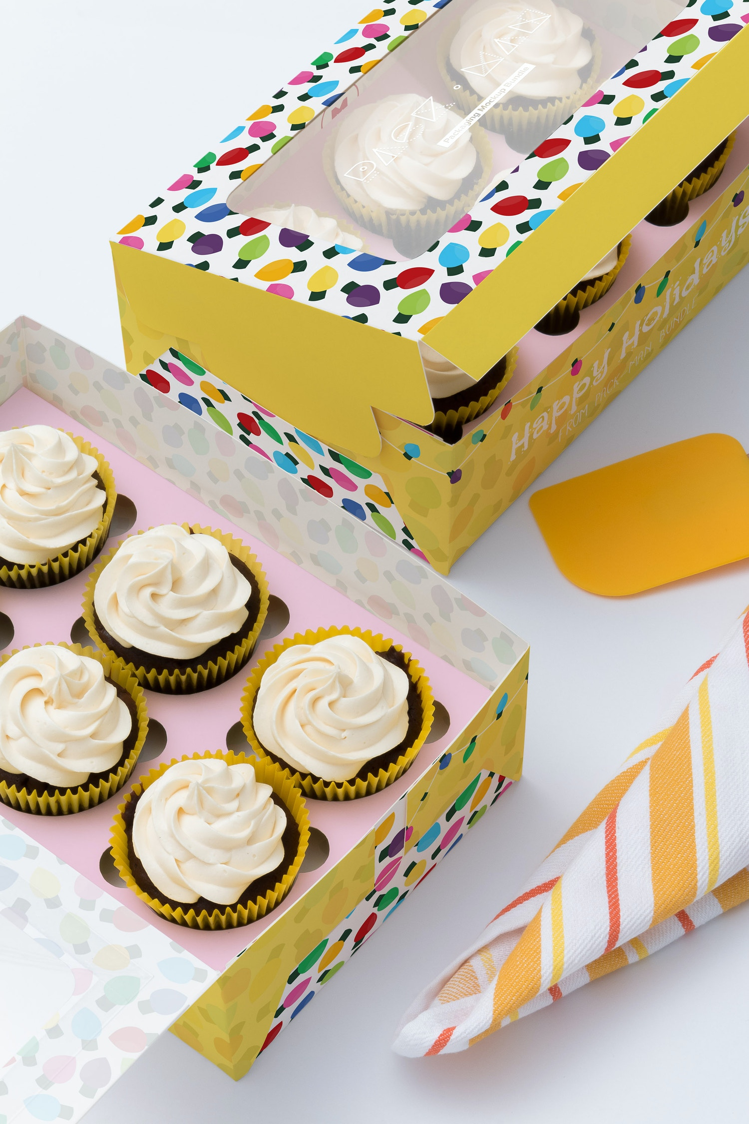Six Cupcake Box Mockup 04 by Ktyellow  on Original Mockups