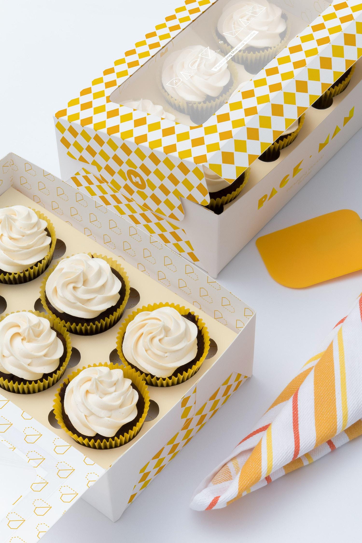 Six Cupcake Box Mockup 04