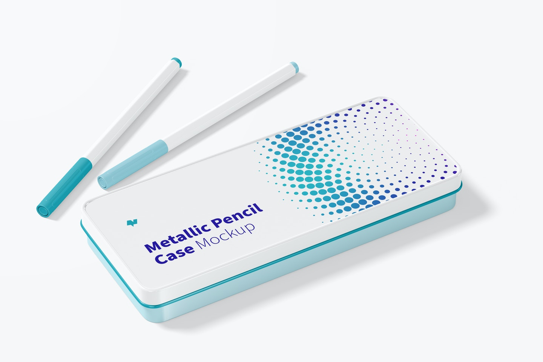 Metallic Pencil Case Mockup, Right View