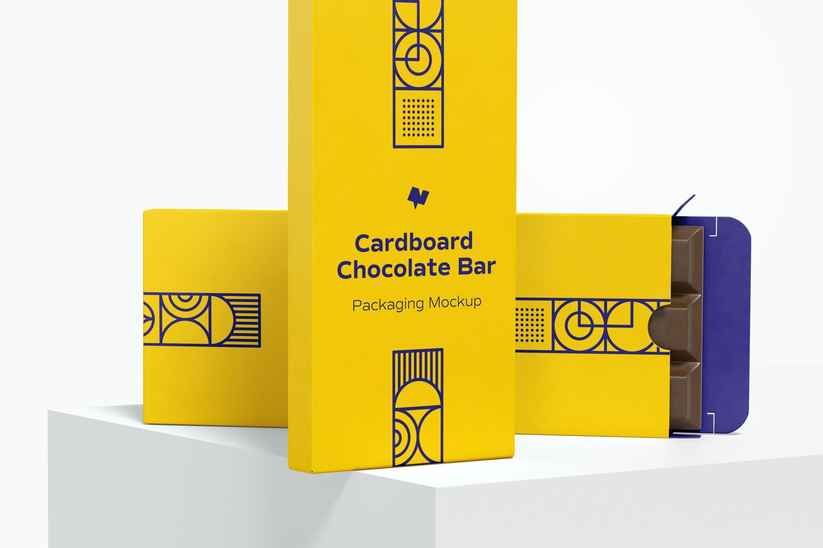 Cardboard Chocolate Bar Packaging Mockup, Dropped