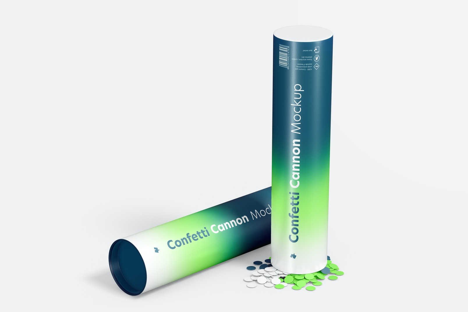 Confetti Cannon Mockup, Standing and Dropped