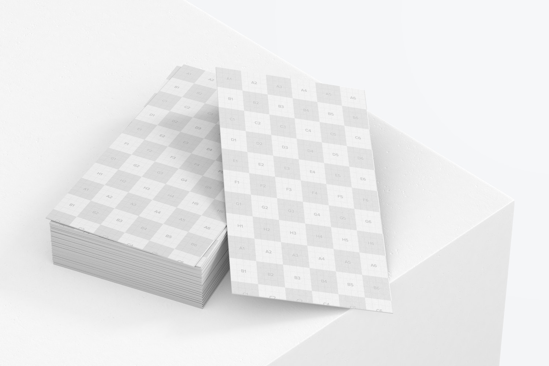 US Portrait Business Card Mockup, Stacked Set