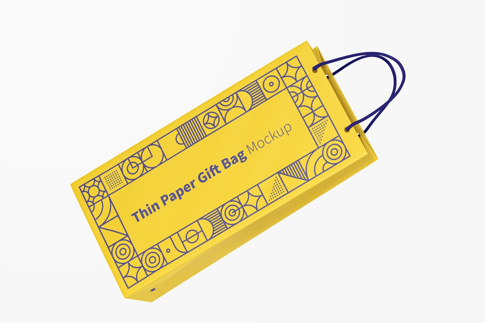 Thin Paper Gift Bag With Rope Handle Mockup, Floating