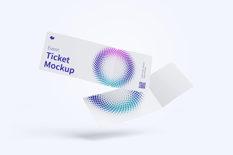 Event Ticket Mockup, Floating