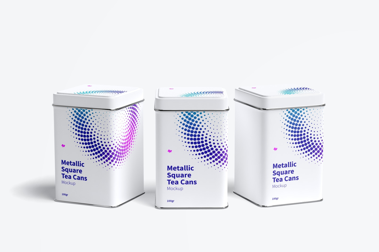 Metallic Square Tea Tin Cans Mockup