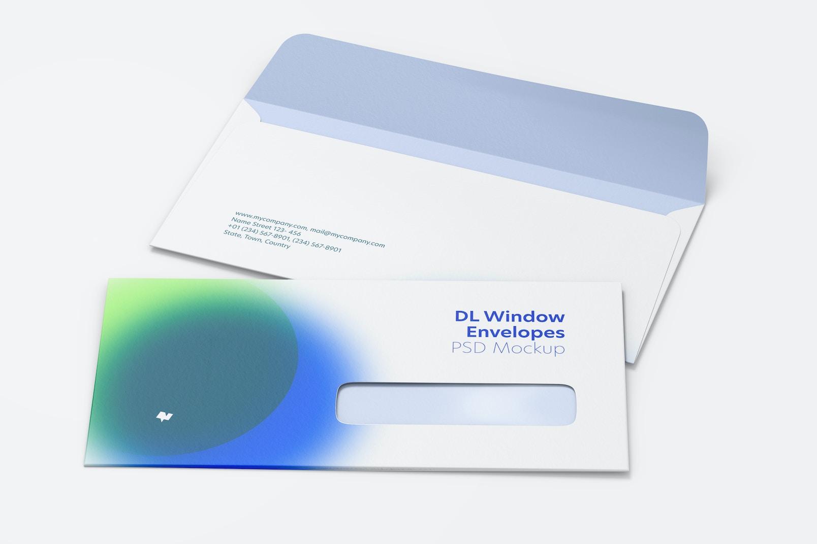 Maqueta de Sobres DL con Ventana, Perspectiva
