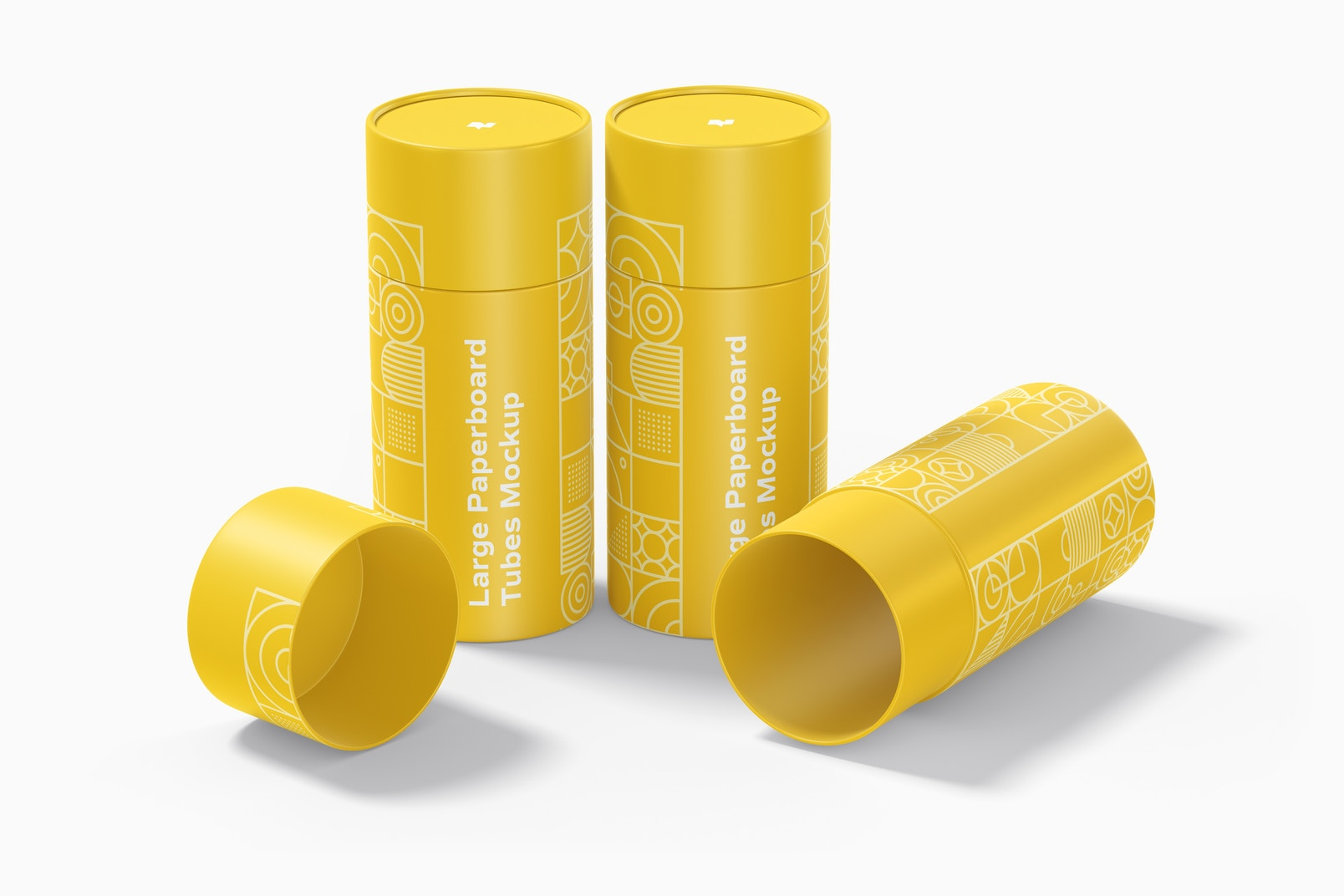 Large Paperboard Tubes Set Mockup, Standing and Dropped