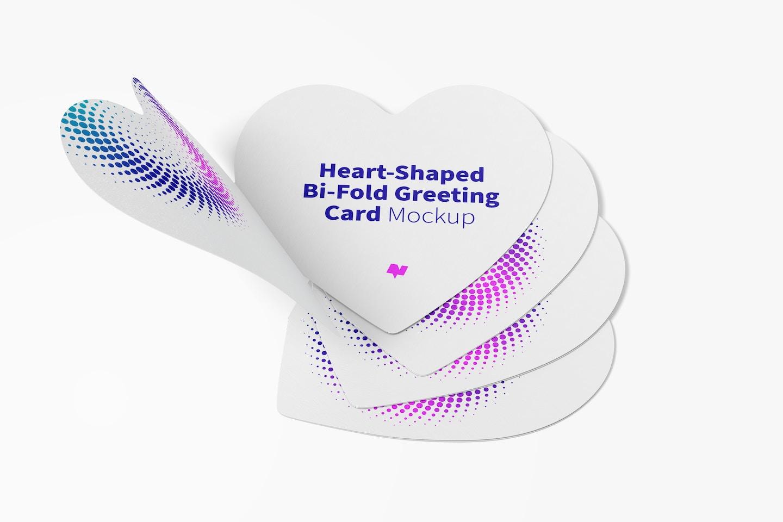 Heart-Shaped Bi-Fold Greeting Cards Set Mockup