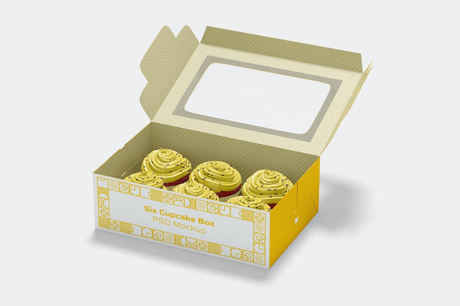 Six Cupcake Box Mockup, Opened