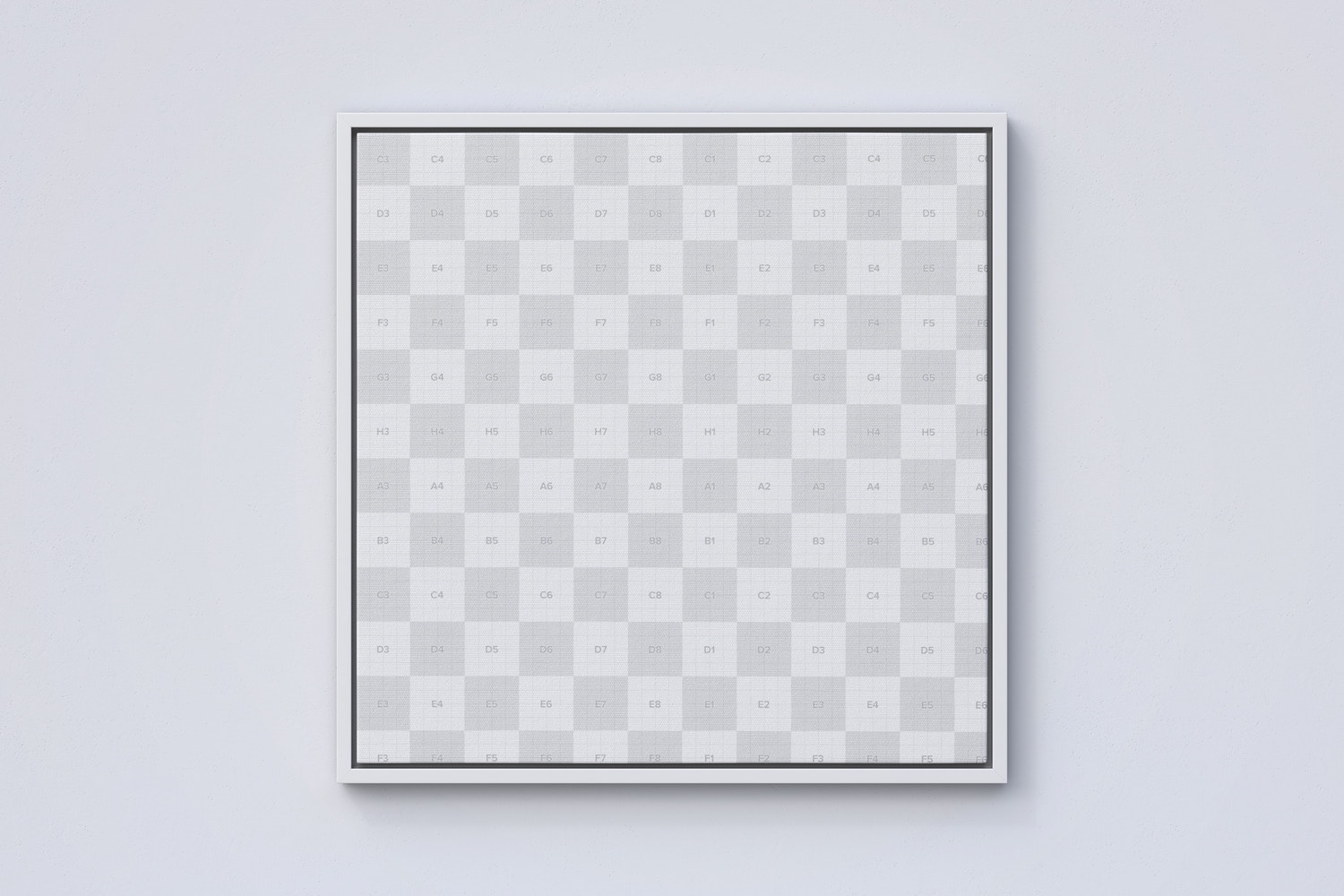 1:1 Square Canvas Mockup in Floater Frame, Front View