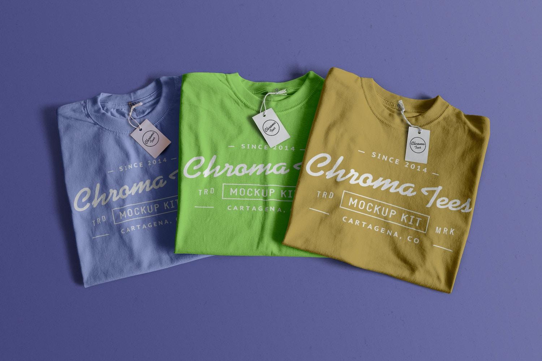 Folded T-Shirts Mockup 02