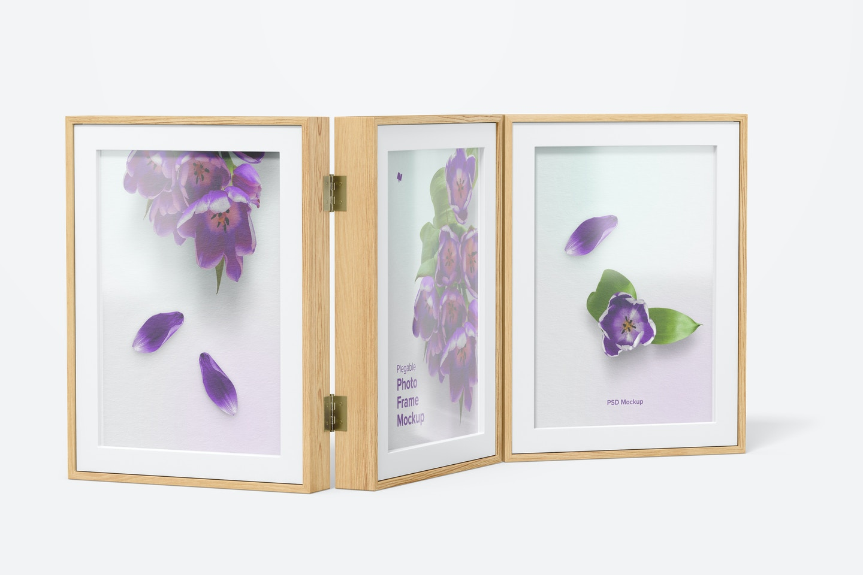 Plegable Photo Frame Mockup, Left View