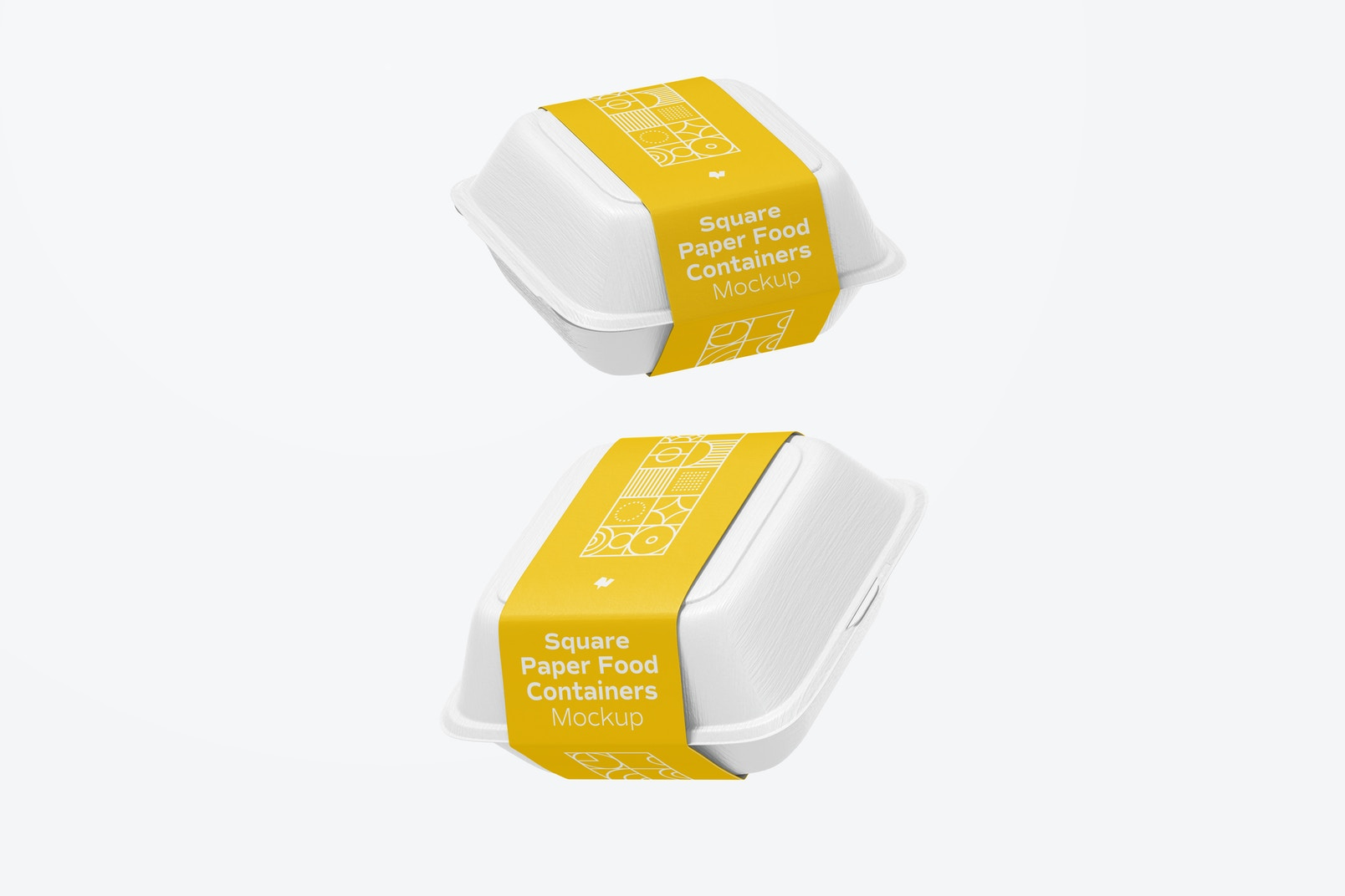 Square Paper Food Containers Mockup, Floating