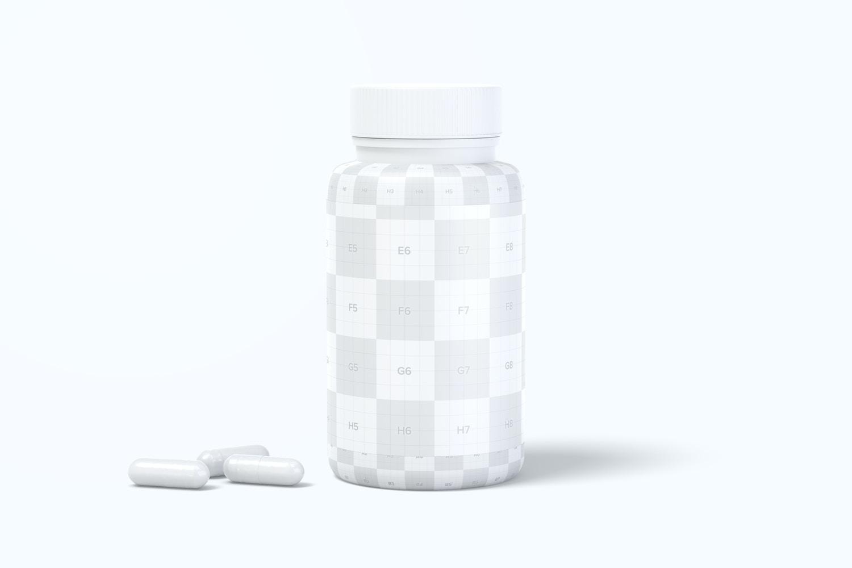 Plastic Pill Jar Mockup, Front View