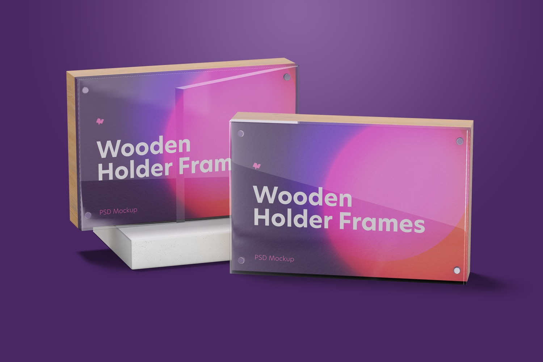 Wooden Label Holder Frames Mockup, Perspective